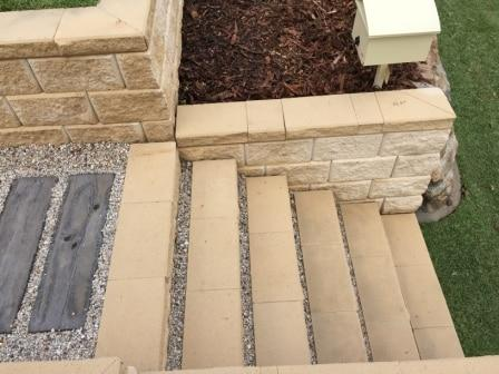 Heron steps-retaining wall - Landscaping steps in block work - stair case Brisbane Queensland