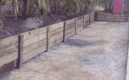 Hardwood retaining wall Brisbane