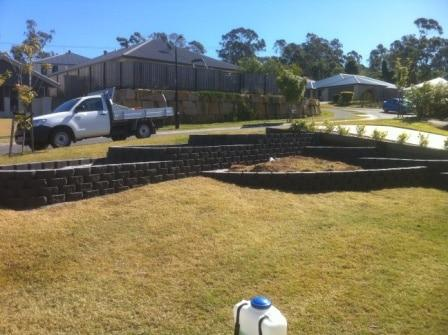 Terraced link block retaining wall Brisbane