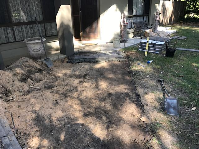 Timber stone path before - Brisbane landscaping