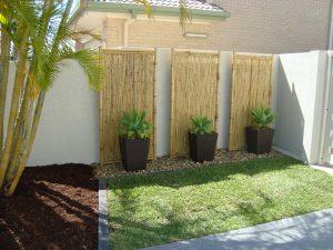 Garden design after completion - bamboo screens