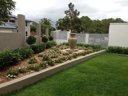Formal garden with urn water feature after landscaping - Bridgeman Downs, Brisbane , QLD