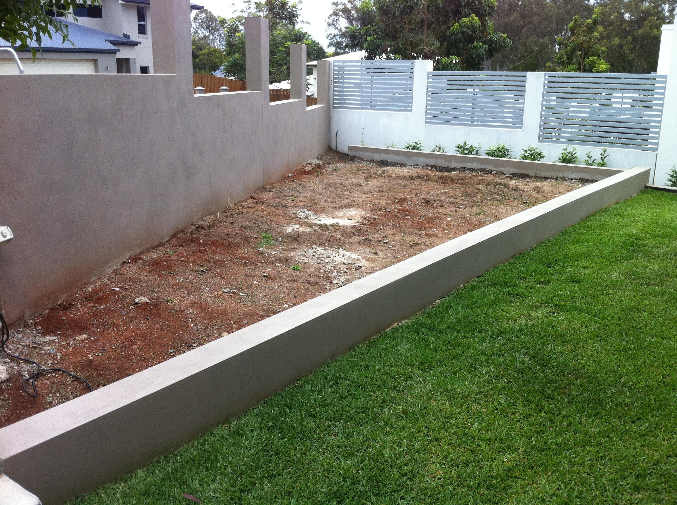 Formal garden with urn water feature before landscaping - Bridgeman Downs, Brisbane , QLD.
