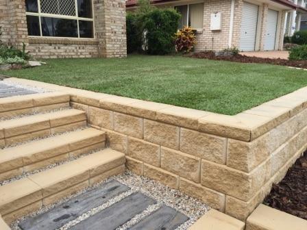 Gb Heron steps limestone - landscaped steps in brisbane retaining wall