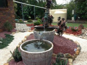 Brisbane landscapers - Wine Barrel water feature