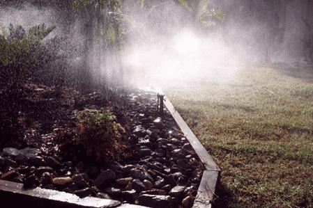 Landscaping Brisbane -micro sprinklers misting in Brisbane irrigation sprinkler system project