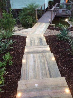 Sleeper steps with lighting - Brisbane Landscaping