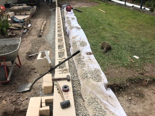 Retaining Wall drainage north Brisbane