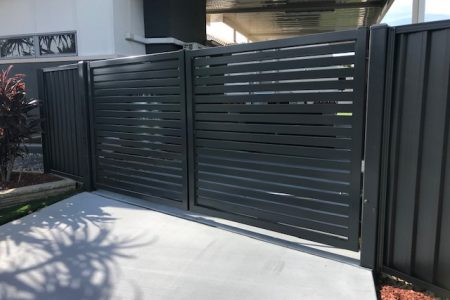 Landscaping Brisbane - Aluminium screen - Gate - Colourbond panel