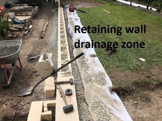 Landscapers Brisbane - Retaining wall drainage zone