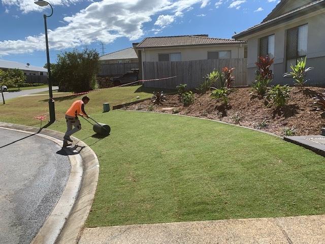 Brisbane landscapers rolling turf