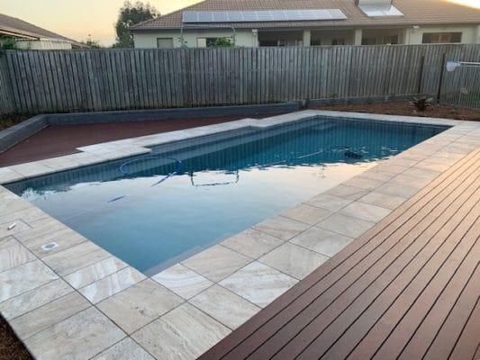 Swimming pool decking - North Brisbane landscaping