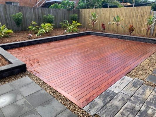 Decking and tropical garden design in North Brisbane landscape project